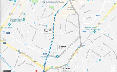 Situation idéale, à 100 mètres du ring et des transports en commun. Le bus GRATUIT (circuit C) s'arrête devant l'immeuble. Centre-Ville à pied : 15 minutes.